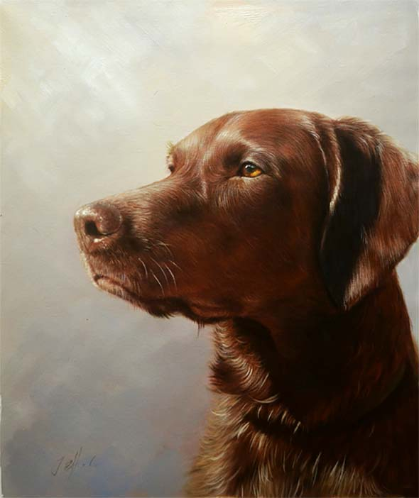 Painting of shiny brown dog