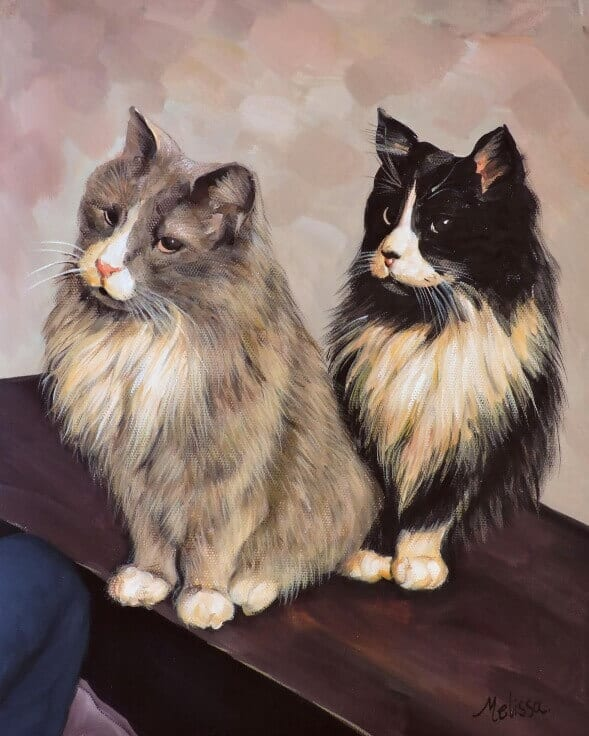 Painting of gray and black & white fluffy cats