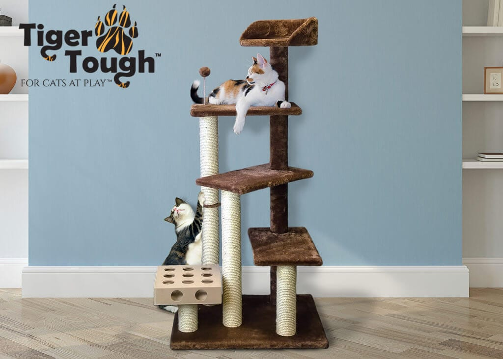 Two cats on cat scratch tower