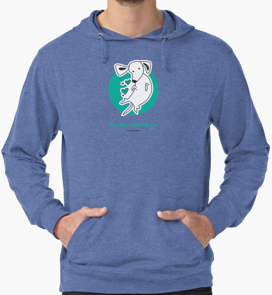 Blue 'My dog rescued me' hoodie